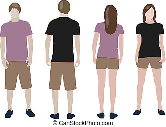t-shirt design templates (front & back) on male and female models
