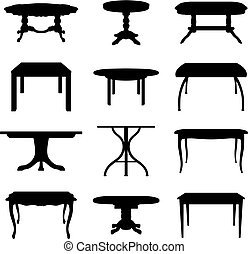 Collection of different tables silhouettes. Vector illustration.