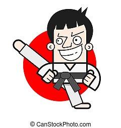 Taekwondo Logo Design Template. Vector Illustration For T-shirts , Flyers