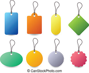 A set of colorful tag with different type of colors and shapes.