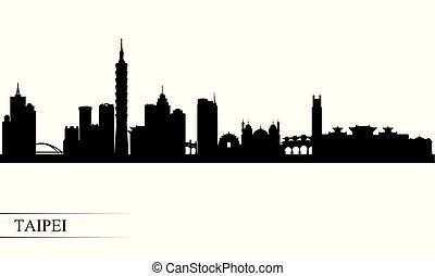 Taipei city skyline silhouette background