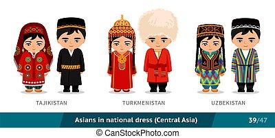 Tajikistan, Turkmenistan, Uzbekistan. Men and women in national dress. Set of asian people wearing ethnic traditional costume. Isolated cartoon characters.