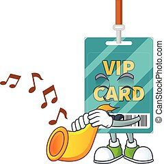 Talented musician of VIP pass card mascot design playing music with a trumpet