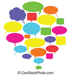 Various colorful talk, thought and speech bubbles