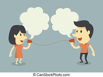 talking with cup telephone