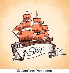 Sailing tall ship wooden vintage clipper with red sails nautical emblem with ribbon and rope vector illustration