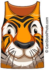 Tank top with face of tiger pattern