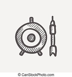 Target board and arrow sketch icon