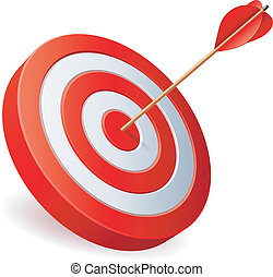 Target with arrow on white background.