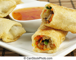 Delicious egg rolls filled with chicken, napa cabbage, carrots, mung bean sprouts, wood ear fungus, and green onions. Served with a sweet chili sauce.