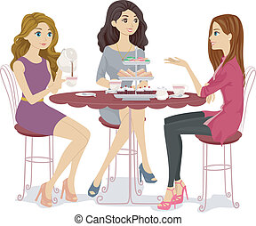 Illustration of a Group of Friends Having a Tea Party