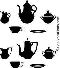 Two different tea sets black and white silhouettes