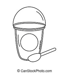 tea, takeaway disposable cup with spoon line icon style