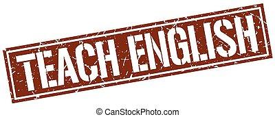 teach english square grunge stamp