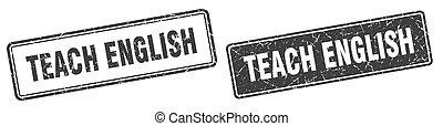 teach english stamp set. teach english square grunge sign