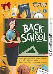 Teacher and Back to School on blackboard poster
