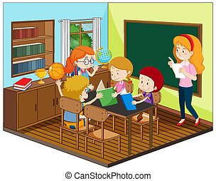 Teacher and student in the classroom with furnitures