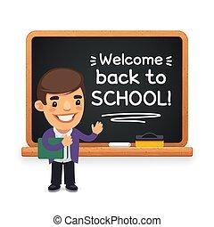 Teacher at the School Blackboard