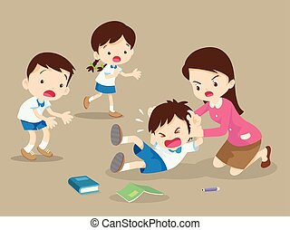 teacher handle angry boy, teacher have worry with Rampage angry boy. aggressive children in classroom