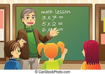 A vector illustration of a teacher teaching math in a classroom