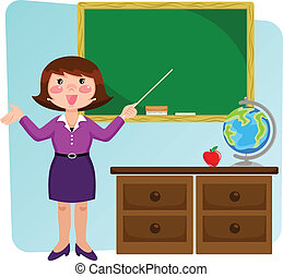 teacher standing in a classrom and pointing at the blackboard