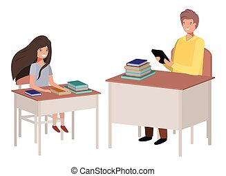 teacher in the classroom with student