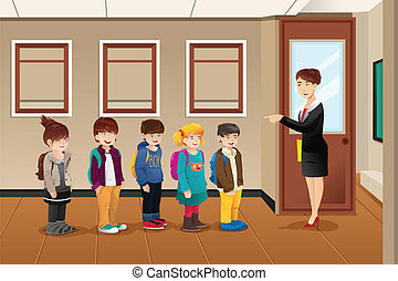 Teacher lining up the students