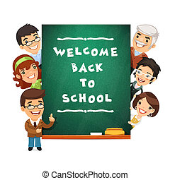 Teacher Points to the Blackboard with Welcome Back to School Phr