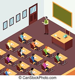 Teacher Student in Classroom in Isometric Illustration
