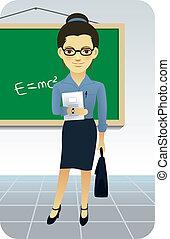 Teacher Teaching in front of a blackboard in a classroom.