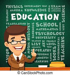 Teacher With Education Poster on Blackboard