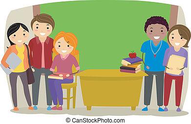 Illustration of Group of Teachers inside a Classroom