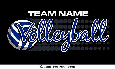 team name volleyball design with dots showing movement