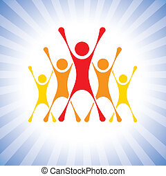 team of achievers celebrating victory in a competition- vector graphic. This illustration can also represent winners of a challenge, excited team members, thrilled people, super achievers, etc