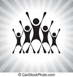 team of people jumping after victory in a competition- vector graphic. This illustration can also represent winners of a challenge, excited team members, thrilled people, super achievers, etc