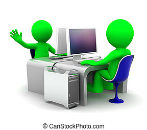 Team of two computer experts at workplace. On white background