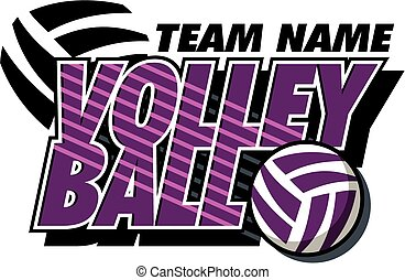 team volleyball design with ball and swish marks
