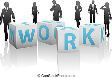 A team of business people, men and women, with cubes or blocks spelling TEAM WORK on a plain white background.