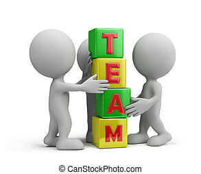 Work together as a team. 3d image. White background.