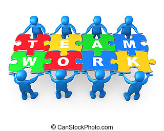 3d people holding pieces of a jigsaw puzzle with the word teamwork.