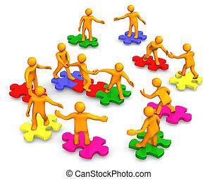 Orange cartoons on the multicolored puzzles, symbolize a teamwork.