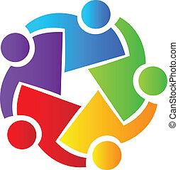 Vector of teamwork business people symbol logo