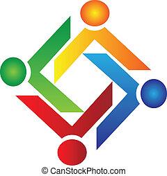 Teamwork charity people logo vector