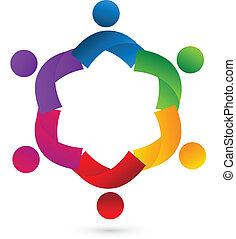 Teamwork collaboration people vector icon