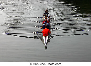 Crew team with paddles out of water on river