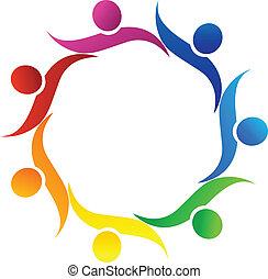 Teamwork hug symbol logo vector