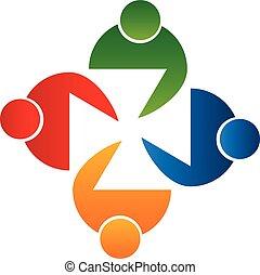 Teamwork unity people icon design template icon vector.