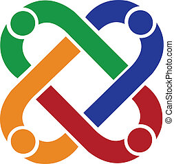 Teamwork people connection vector icon