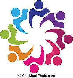 Teamwork union 8 people logo vector