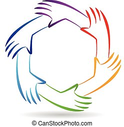 Teamwork unity hands logo identity card vector icon